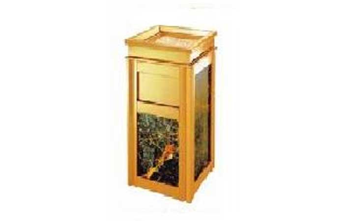 Thùng rác inox vuông vàng A15